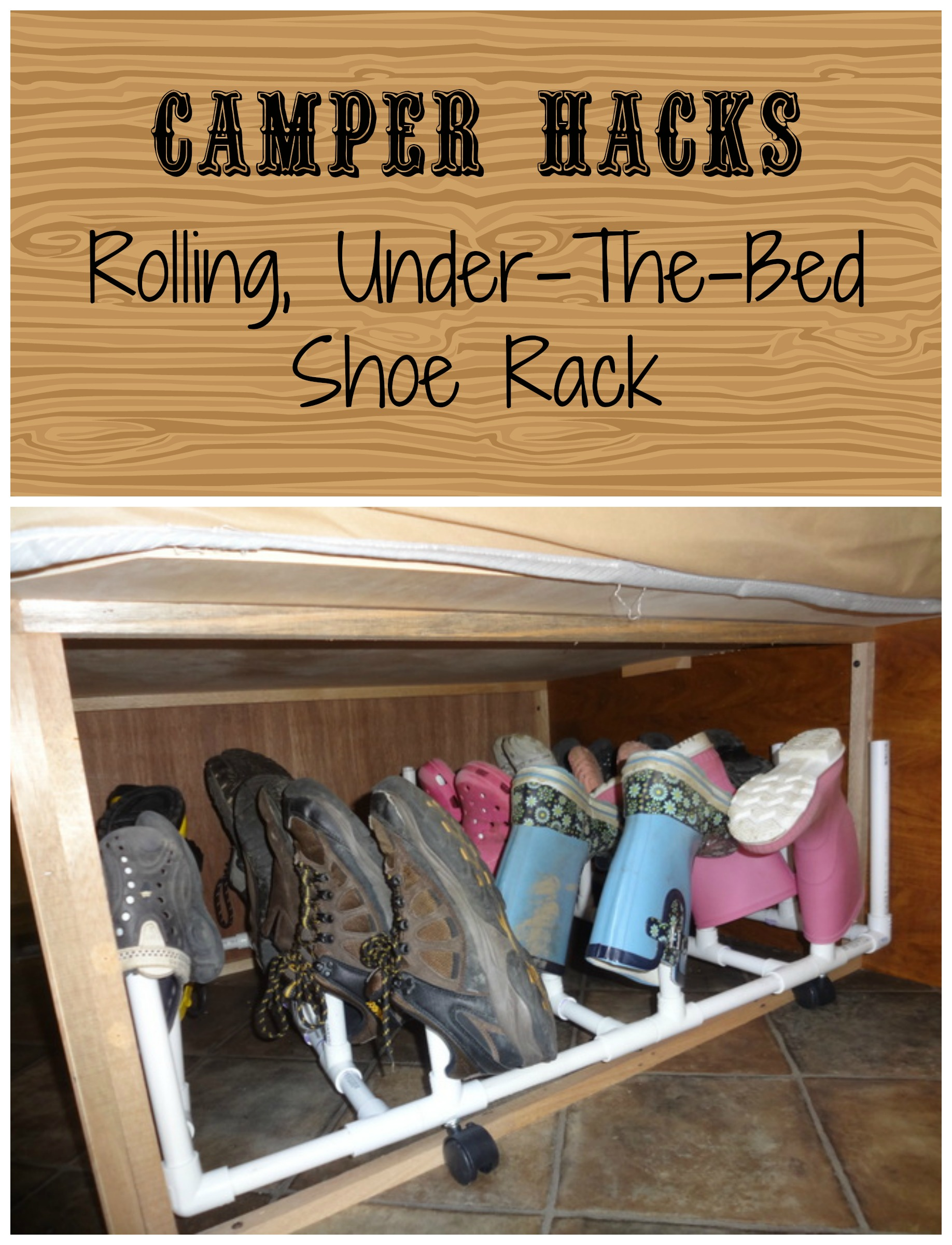 Camper under-the-bed, rolling shoe rack